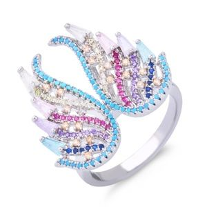 925 Silver Pave Multi Color Angel Wings Ring Sz 7